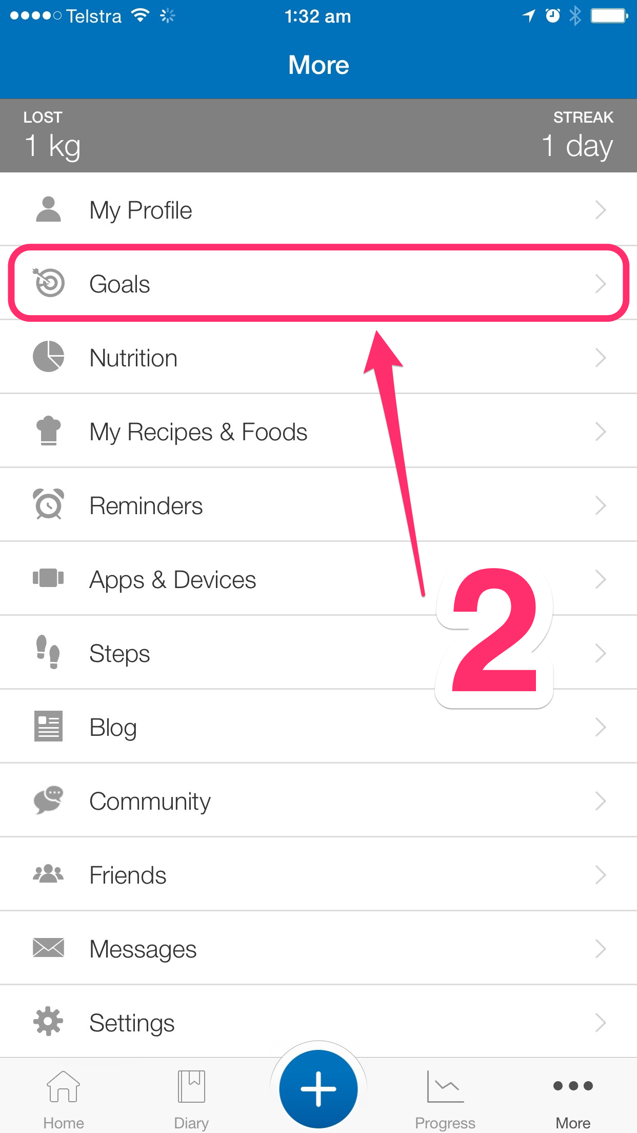 customising myfitnesspal step 2