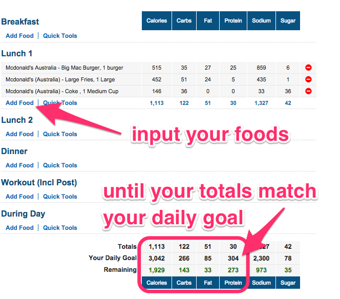 adding food to myfitnesspal desktop